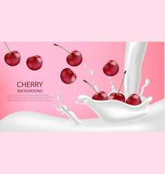 milk splash with cherry realistic detailed 3d vector image
