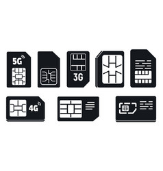 mobile sim phone card icons set simple style vector image