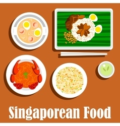 National dishes of singaporean cuisine flat icon vector image