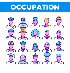 Occupation collection elements icons set vector