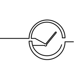 One line drawing clock vector