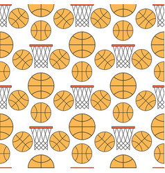 Orange basketball ball seamless pattern background vector