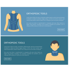 Orthopedic tools fixing corsets collection banner vector