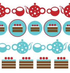 Pattern with tea party and chocolate cakes vector image