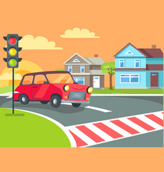 Pedestrian crossing with traffic lights on road vector