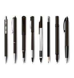pens and pencils assortment realistic mockups set vector image