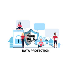 people group padlock mobile chat bubble app shield vector image