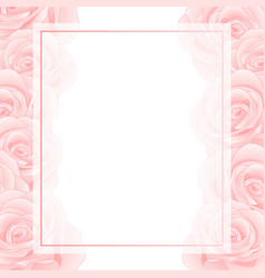 Pink rose banner card border vector