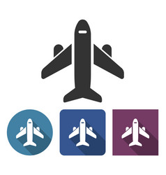 plane icon in different variants with long shadow vector image