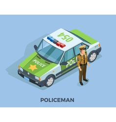 Police Profession Isometric Template vector