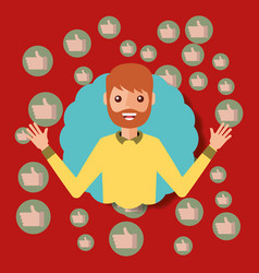 portrait young man with likes in bubbles vector image