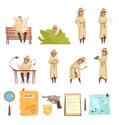 private detective cartoon icons collection vector image