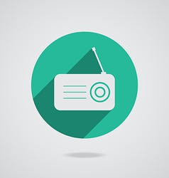 Radio flat icon silhouette with long shadow vector image