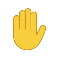Raised hand color icon vector