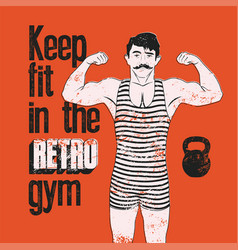 Retro gym grunge poster design with strong man vector