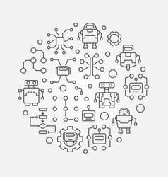 Robots and ai round vector
