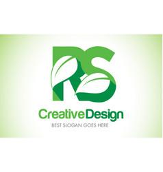 rs green leaf letter design logo eco bio leaf vector image