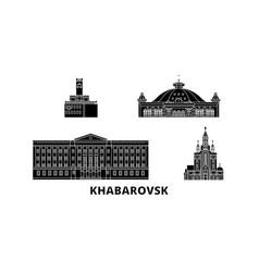 russia khabarovsk flat travel skyline set russia vector image