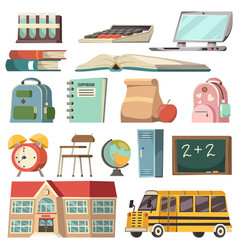 school orthogonal icon set vector image
