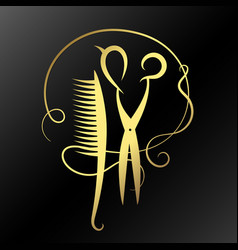 scissors and hairbrush golden vector image