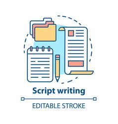 Script writing concept icon screenwriting vector