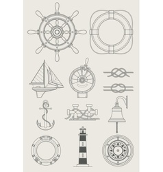 Sea ship set icon vector