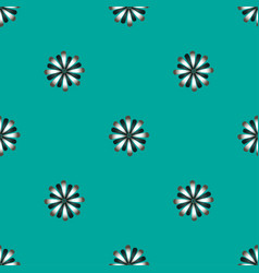 seamless pattern with flat flowers on a blue vector image