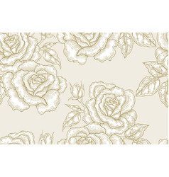 seamless pattern with white rose flowers on gold vector image