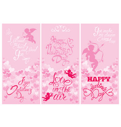 Set 3 holiday vertical banners with cute angels vector