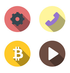 set 4 flat icons - gear phone bitcoin start vector image