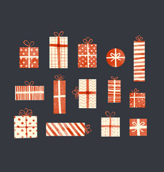 Set cream-colored and red gift boxes in vintage vector