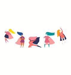 Set diverse women superheroes vector