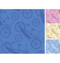 Set of frour tandem bicycles seamless patterns vector image