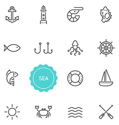 Set of sea food elements can be used as logo vector
