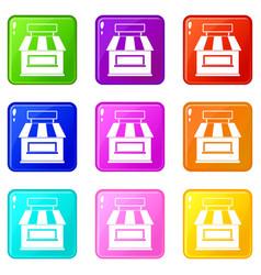 Shop building facade icons 9 set vector