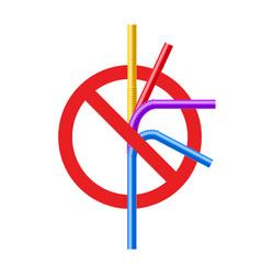 Stop plastic straw tube ban symbol ocean vector