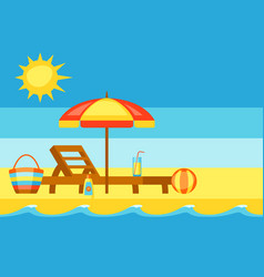 summer holidays sea surf on sandy beach vector image