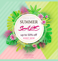 Summer sale banner with paper flowers and leaves vector