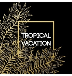 Summer tropical background of palm leaves and vector image vector image