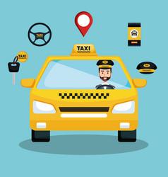 taxi service driver car app smart transport travel vector image