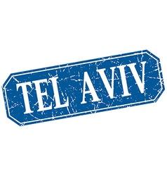 Tel Aviv blue square grunge retro style sign vector