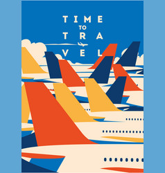 Time to travel and airport vacation poster vector