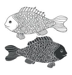 Two black and white hand-drawn fish Detailed vector