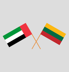 Uae and lithuanian flags vector