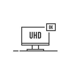 Uhd like thin line 8k smart tv icon vector