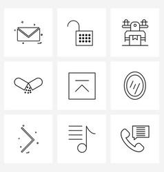 Universal symbols 9 modern line icons box vector