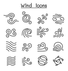wind icon set in thin line style vector image