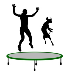 Woman and dog trampoline vector
