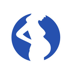 Woman pregnant in blue circle vector