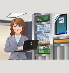 Woman working in computer server room vector